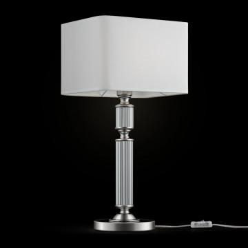 Настольная лампа Maytoni Ontario MOD020TL-01CH, 1xE27x60W, прозрачный, хром, белый, металл, стекло, текстиль