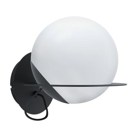 Настенный светильник Eglo Sabalete 98365, 1xE27x40W, черный, белый, металл, стекло