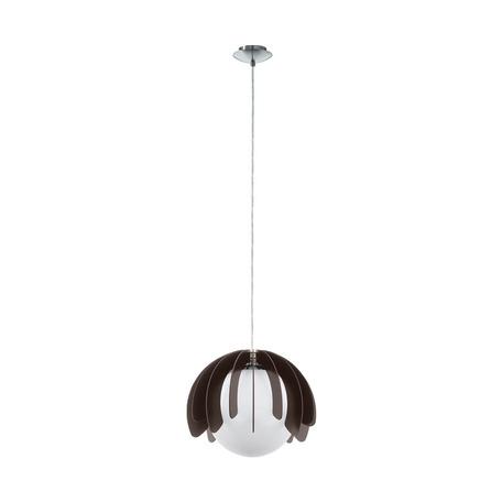 Подвесной светильник Eglo Rambla 98376, 1xE27x60W, никель, черный, черно-белый, металл, дерево, стекло