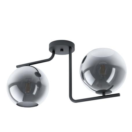 Потолочный светильник Eglo Marojales 98514, 2xE27x28W, черный, дымчатый, металл, стекло