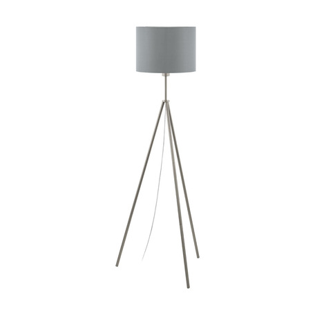 Торшер Eglo Scigliati 98392, 1xE27x60W, никель, серый, металл, текстиль