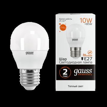 Светодиодная лампа Gauss Elementary 53210 шар E27 10W, 3000K (теплый) CRI>80 180-240V, гарантия 2 года