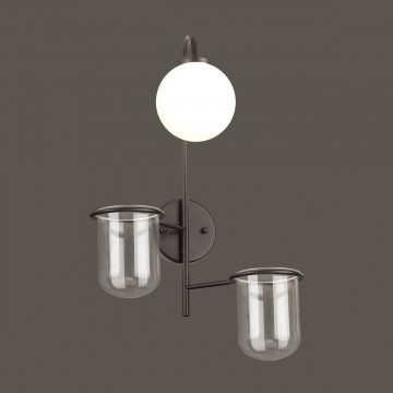 Бра Odeon Light Flower 4681/1W, 1xE14x40W, черный, белый, металл со стеклом, стекло - миниатюра 3