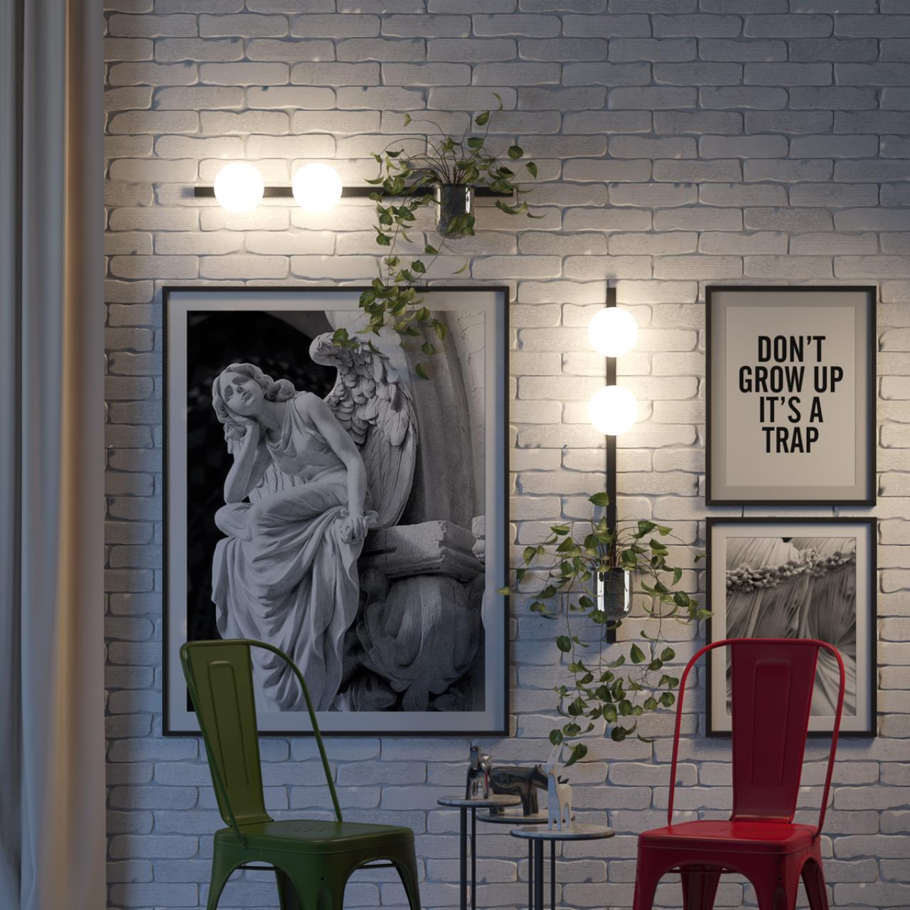 Бра Odeon Light Walli Flower 4681/1W, 1xE14x40W, черный, белый, металл со стеклом, стекло - фото 4