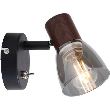 Бра с регулировкой направления света Toplight Lavinia TL1233Y-01BB, 1xE14x40W, черный с кориневым, дымчатый, металл, стекло