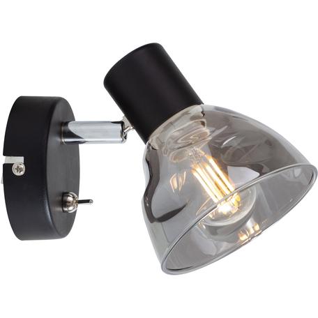 Бра с регулировкой направления света Toplight Maralyn TL1234Y-01BL, 1xE14x40W, черный, дымчатый, металл, стекло