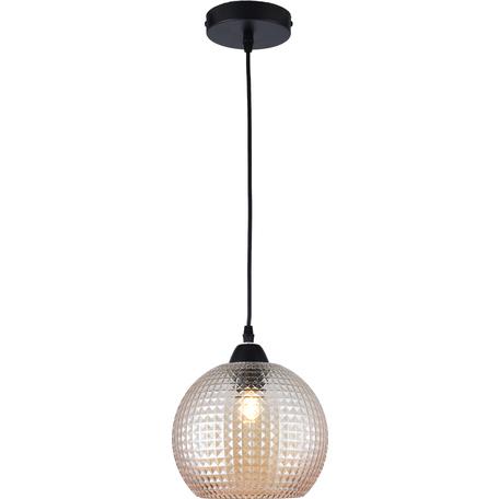 Подвесной светильник Toplight Verity TL1212H-01TR, 1xE27x40W, черный, прозрачный, металл, стекло