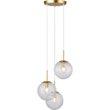Подвесной светильник Toplight Alyse TL1215H-03TR, 3xE14x40W, золото, прозрачный, металл, стекло