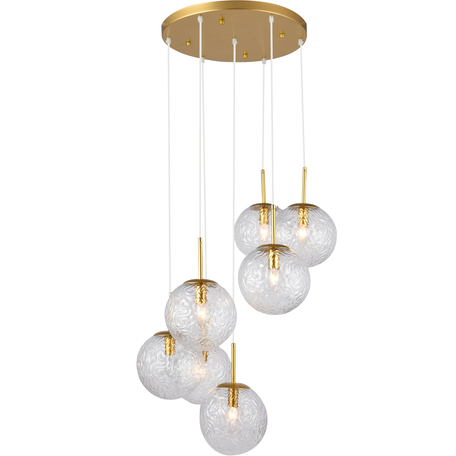Подвесной светильник Toplight Alyse TL1215H-07TR, 7xE14x40W, золото, прозрачный, металл, стекло
