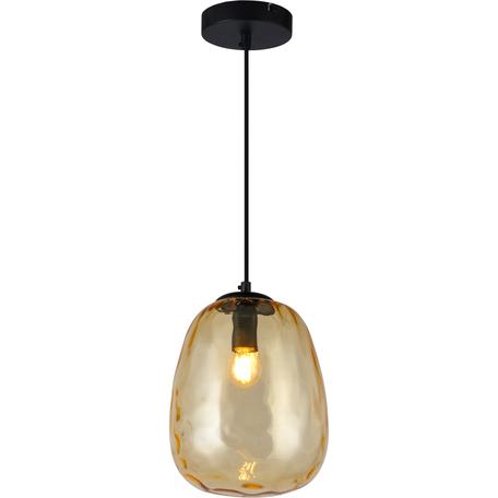 Подвесной светильник Toplight Lillian TL1219H-01BR, 1xE27x40W, черный, коричневый, металл, стекло