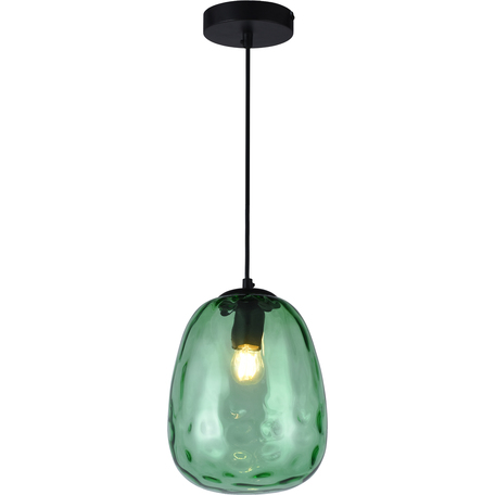 Подвесной светильник Toplight Lillian TL1219H-01GR, 1xE27x40W, черный, зеленый, металл, стекло