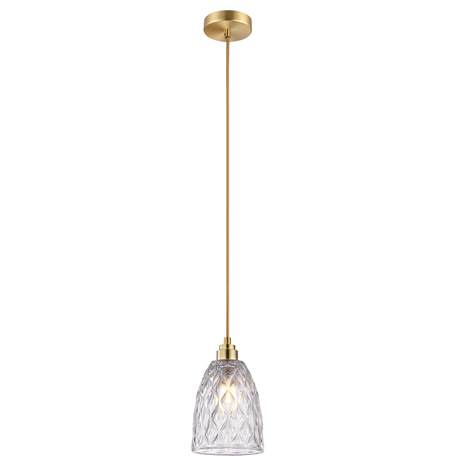 Подвесной светильник Toplight Pearle TL5162H, 1xE14x40W, золото, прозрачный, металл, стекло