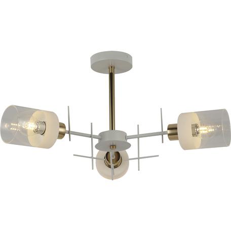 Потолочная люстра Toplight Chloe TL1253D-03WG, 3xE27x60W, белый с золотом, янтарь, металл, стекло