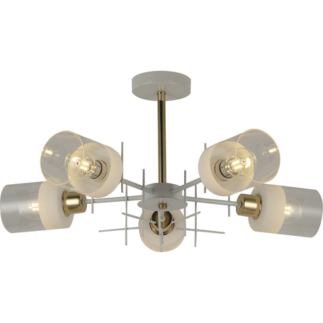 Потолочная люстра Toplight Chloe TL1253D-05WG, 5xE27x60W, белый с золотом, янтарь, металл, стекло