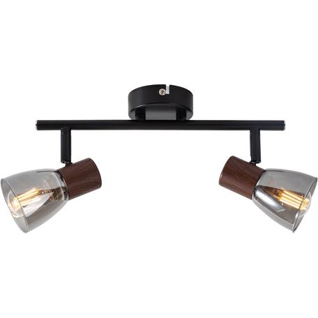 Потолочный светильник с регулировкой направления света Toplight Lavinia TL1233Y-02BB, 2xE14x40W, черный с кориневым, дымчатый, металл, стекло