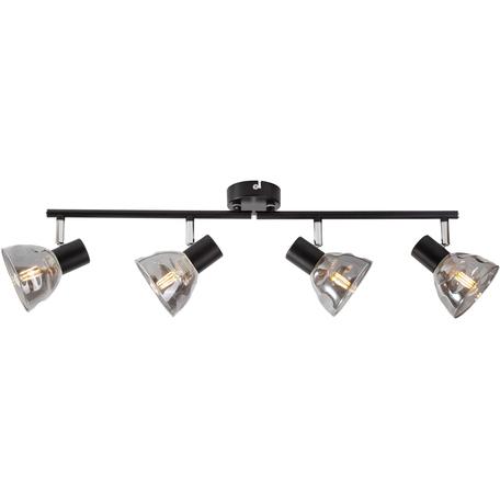 Потолочный светильник с регулировкой направления света Toplight Maralyn TL1234Y-04BL, 4xE14x40W, черный, дымчатый, металл, стекло