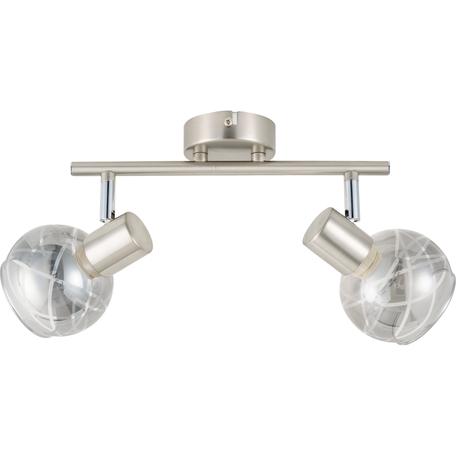 Потолочный светильник с регулировкой направления света Toplight Kristal TL1236Y-02SN, 2xE14x40W, никель, дымчатый, металл, стекло