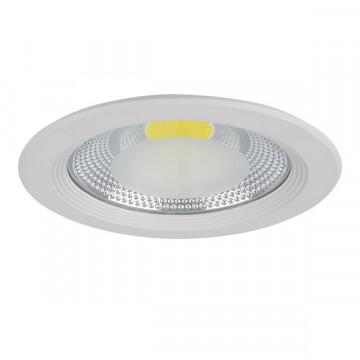 Встраиваемый светодиодный светильник Lightstar Forto 223202, IP44, LED 20W 3000K 1900lm, белый, прозрачный, металл со стеклом