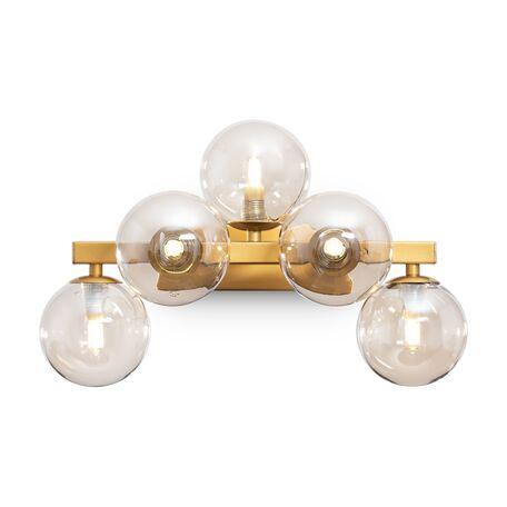 Светильник Maytoni Dallas MOD545WL-05G, 5xG9x28W, золото, коньячный, металл, стекло