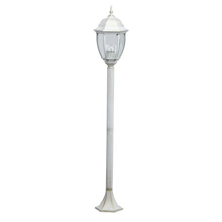 Уличный фонарь De Markt Фабур 2 804041001, IP44, 1xE27x5W, белый с золотой патиной, прозрачный, металл, металл со стеклом