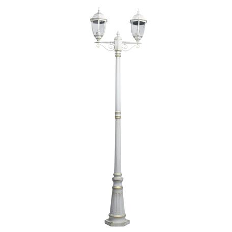 Уличный фонарь De Markt Фабур 2 804041102, IP44, 2xE27x5W, белый с золотой патиной, прозрачный, металл, металл со стеклом