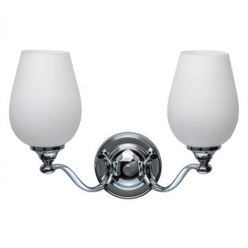 Бра Chiaro Палермо 386026302, 2xE27x60W, хром, белый, металл, стекло