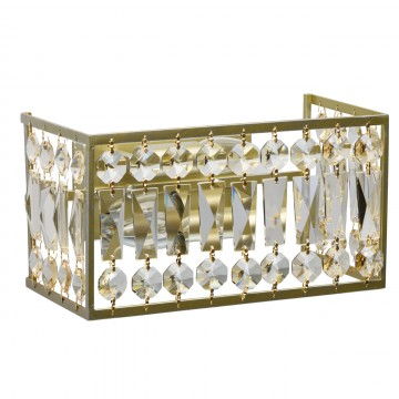Бра MW-Light Монарх 121022202, 2xE14x40W, матовое золото, коньячный, хрусталь