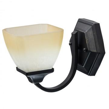 Бра MW-Light Замок 249028401, 1xE27x60W, черный с золотой патиной, бежевый, металл, ковка, стекло