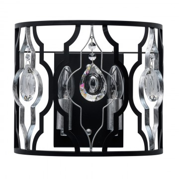 Бра MW-Light Альгеро 285022002, серебро, черный, прозрачный, металл, хрусталь