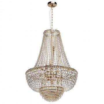 Подвесная люстра MW-Light Патриция 447011509, золото, прозрачный, металл, хрусталь