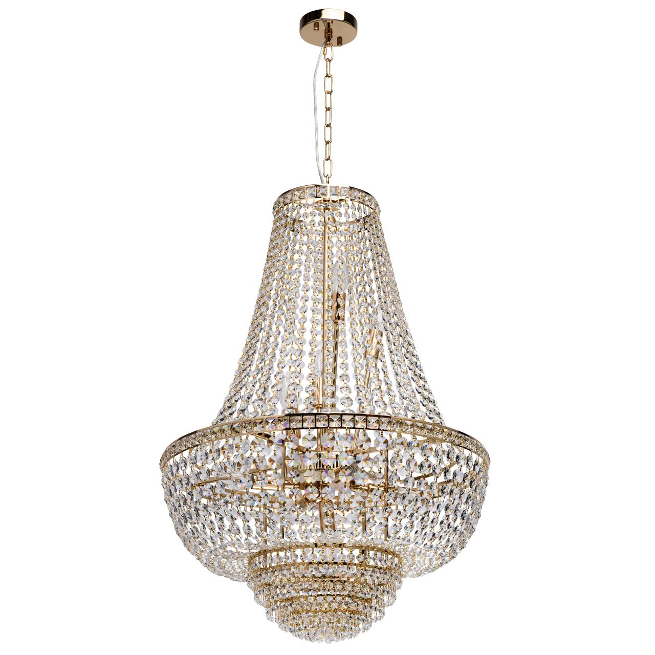 Подвесная люстра MW-Light Патриция 447011509, золото, прозрачный, металл, хрусталь - фото 1