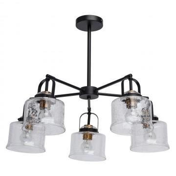 Потолочная люстра с регулировкой направления света De Markt Вальтер 551012005, латунь, черный, прозрачный, металл, стекло
