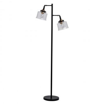 Торшер De Markt Вальтер 551042502, латунь, черный, прозрачный, металл, стекло