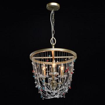 Подвесная люстра Chiaro Валенсия 299012004, 4xE14x60W, матовое золото, разноцветный, металл с хрусталем