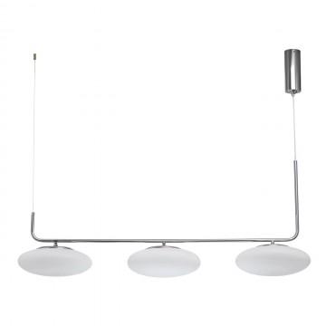 Подвесной светодиодный светильник De Markt Ауксис 722010803, LED 90W 3000K 7200lm, хром, белый, металл, стекло