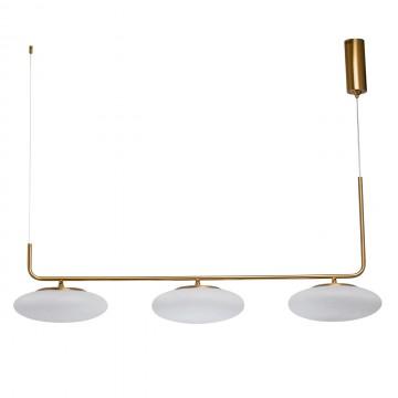 Подвесной светодиодный светильник De Markt Ауксис 722010903, LED 90W 3000K 7200lm, золото, белый, металл, стекло