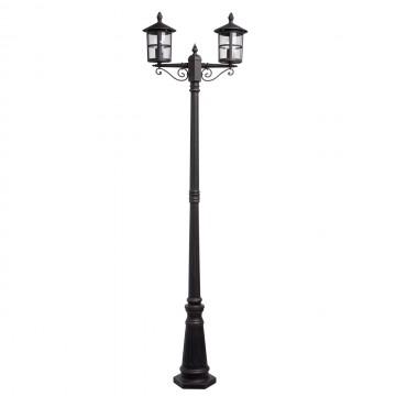 Уличный фонарь De Markt Телаур 806041202, IP44, 2xE27x60W, коричневый, прозрачный, металл, ковка, металл со стеклом