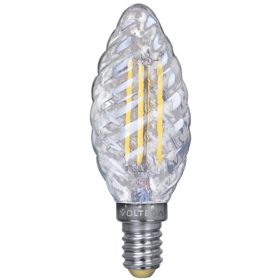 Филаментная светодиодная лампа Voltega Crystal 5711 витая свеча E14 4W, 2800K (теплый) 220V, гарантия 3 года - фото 1