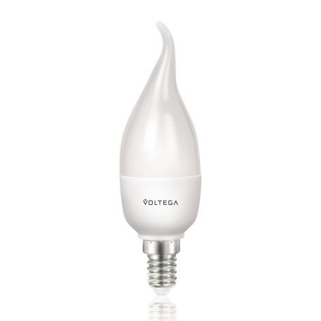 Светодиодная лампа Voltega Simple 4717 свеча на ветру E14 5,5W, 4000K (дневной) 220V, гарантия 2 года