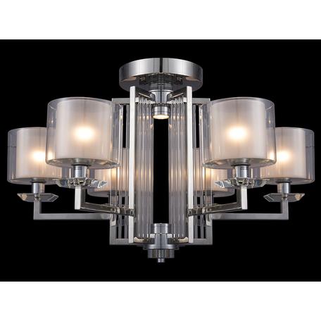 Потолочная люстра Newport 4400 4406/C (М0057157), 6xE14x60W + LED 10W, хром, прозрачный, металл со стеклом, стекло