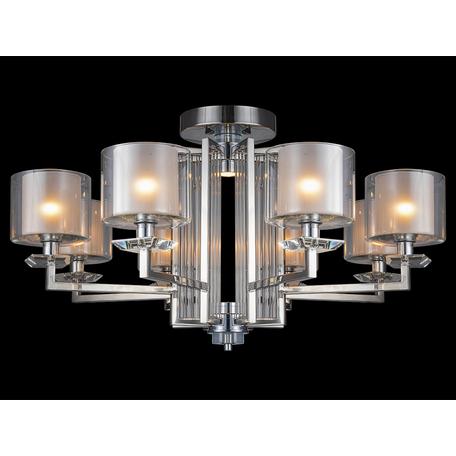 Потолочная люстра Newport 4400 4408/C (М0057159), 8xE14x60W + LED 10W, хром, прозрачный, металл со стеклом, стекло