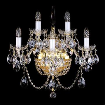 Бра Artglass SARA V. CE, 5xE14x40W +  1xE14x60W, белый, золото, прозрачный, стекло, хрусталь Artglass Crystal Exclusive