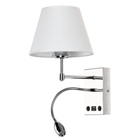 Бра с дополнительной подсветкой Arte Lamp Elba A2581AP-2CC, 1xE27x60W + LED 3000K 210lm CRI≥80, хром, белый, металл, текстиль