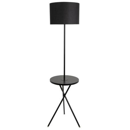 Торшер со столиком Arte Lamp Combo A2070PN-1BK, 1xE27x60W, черный, металл, текстиль