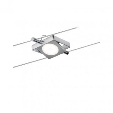 Светодиодный светильник с регулировкой направления света для тросовой системы Paulmann Set MacLED 50112, LED 4W, матовый хром, металл, металл с пластиком