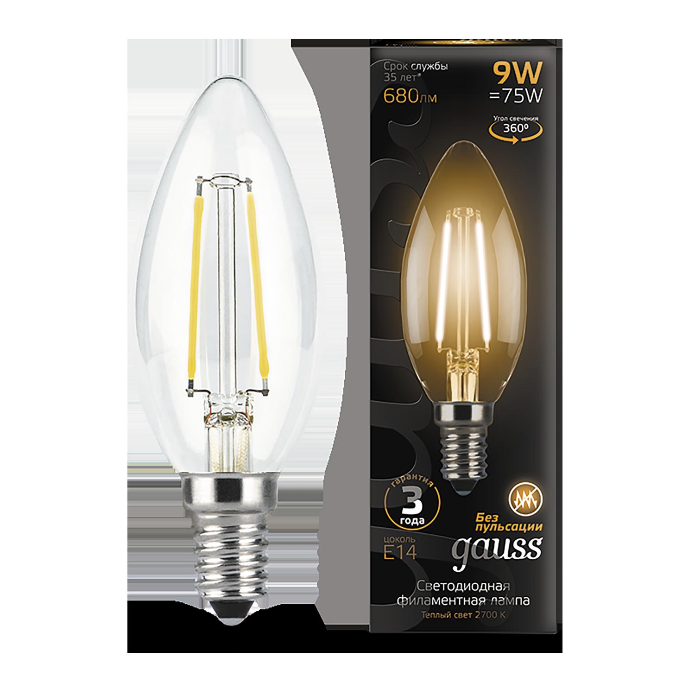 Филаментная светодиодная лампа Gauss 103801109 свеча E14 9W, 2700K (теплый) CRI>90 150-265V, гарантия 3 года - фото 1
