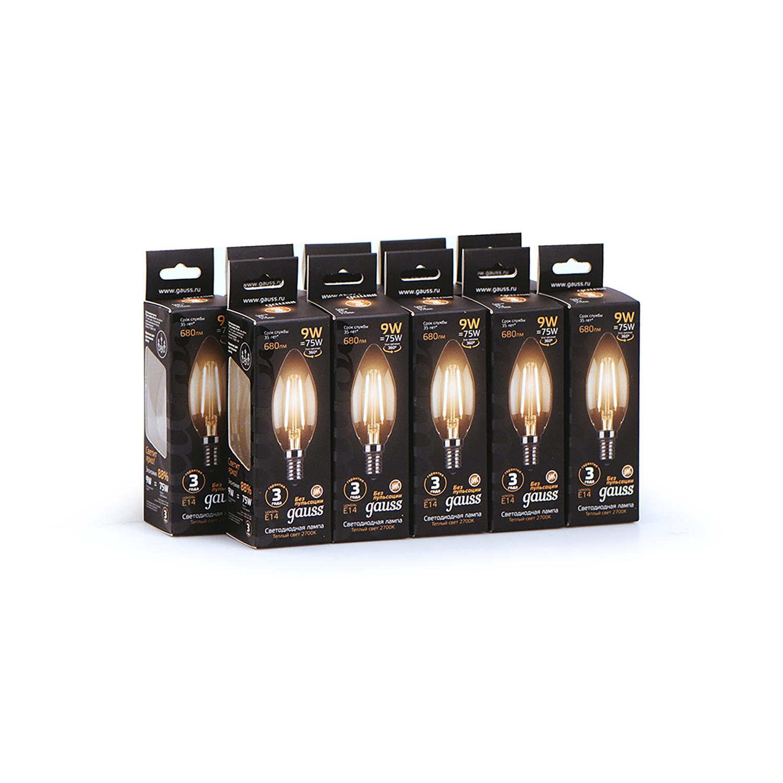 Филаментная светодиодная лампа Gauss 103801109 свеча E14 9W, 2700K (теплый) CRI>90 150-265V, гарантия 3 года - фото 4