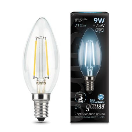 Филаментная светодиодная лампа Gauss 103801209 свеча E14 9W, 4100K (холодный) CRI>90 150-265V, гарантия 3 года