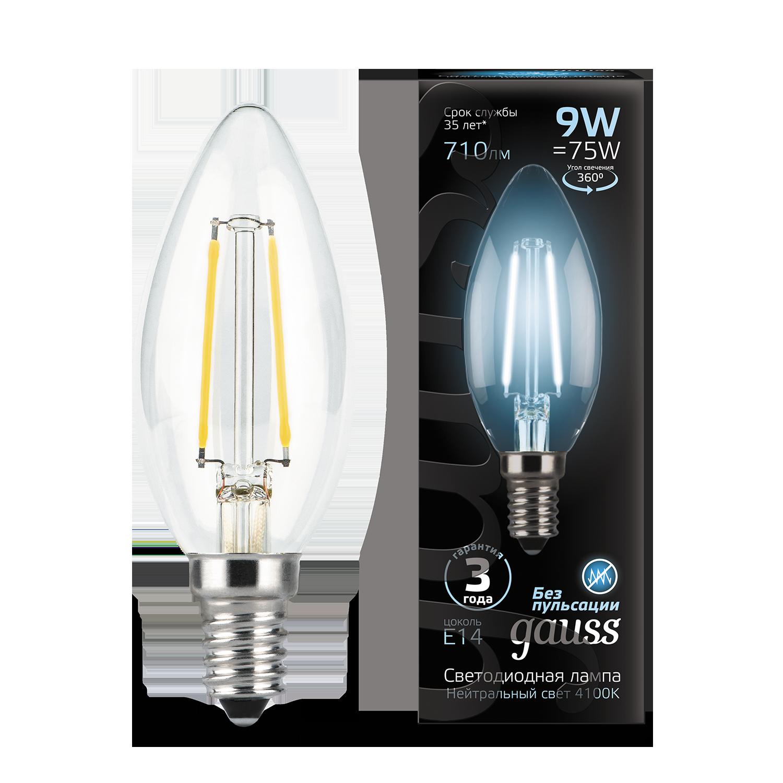 Филаментная светодиодная лампа Gauss 103801209 свеча E14 9W, 4100K (холодный) CRI>90 150-265V, гарантия 3 года - фото 1