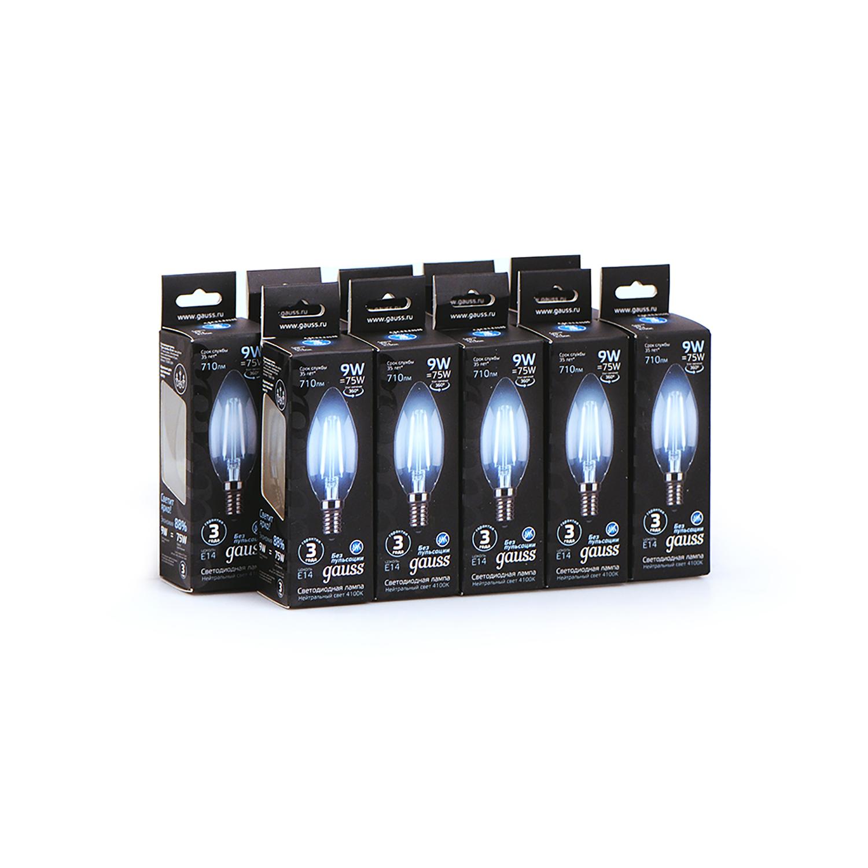 Филаментная светодиодная лампа Gauss 103801209 свеча E14 9W, 4100K (холодный) CRI>90 150-265V, гарантия 3 года - фото 4